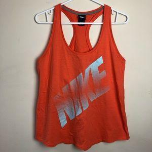 Nike Size L Orange Spellout Tank Top